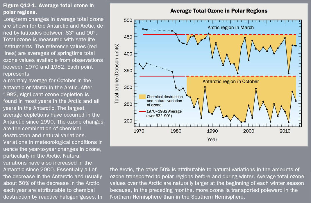 Figure Q12-1 Average total ozone in polar regions