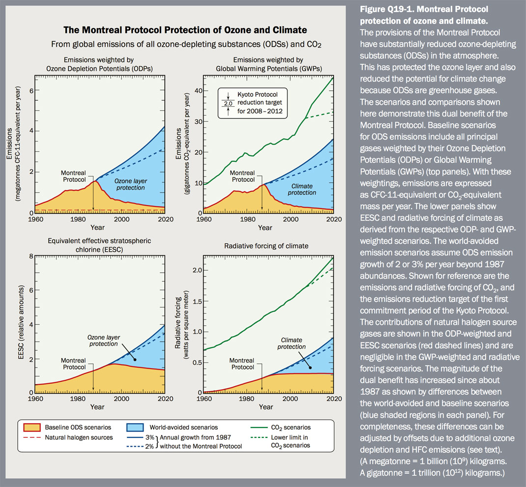 Figure Q19-1 Montreal Protocol protection of ozone and climate